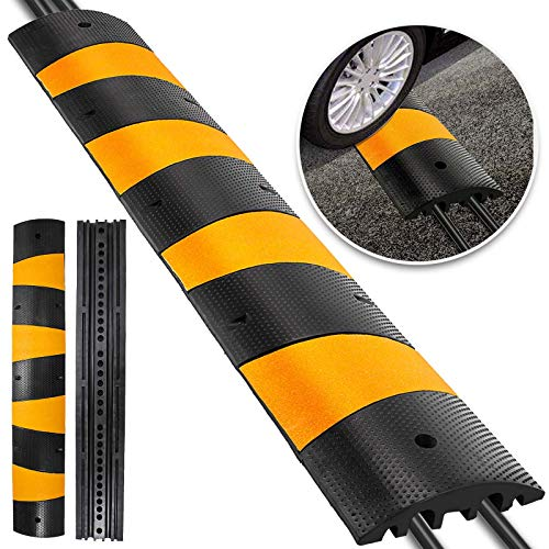 Happybuy 6 Feet Rubber Speed Bump Driveway Heavy Duty Cable Protector Ramp 72.4 x 12 x 2.4 Inch 2-Channel Speed Bumps for Garage Gravel Roads Asphalt Concrete (2-Channel, 6ft-Speed Bump)