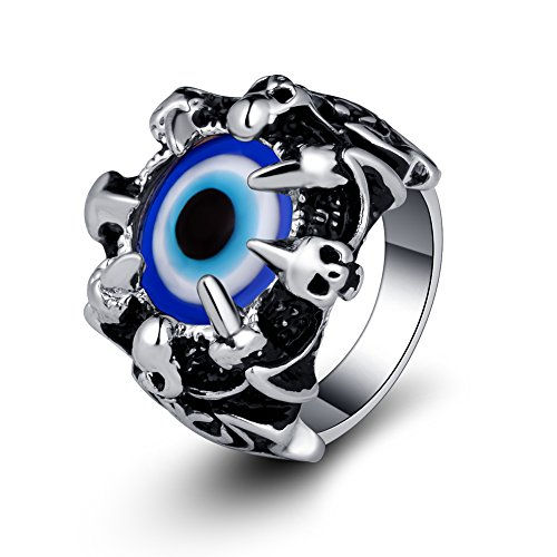 EVBEA Evil Eye Ring Cool Gothic Jewelry Big Biker Dragon Claw Rings for Men (11)
