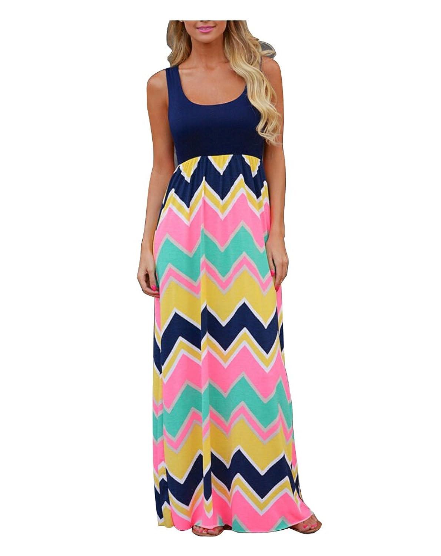 Belego Damen Sleeveless Sommerkleid Splicing Farbe High Waist Striped Casual Böhmisches Kleider