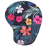 mouse pad for mac - BRILA Mouse Pad with Wrist Rest Support Pad - Comfortable Medicinal Grade Memory Foam Gel with Pattern Design - Skid Proof & Pain Relief for Office Work Laptop Mac Computers (Tropical Floral Leaves)