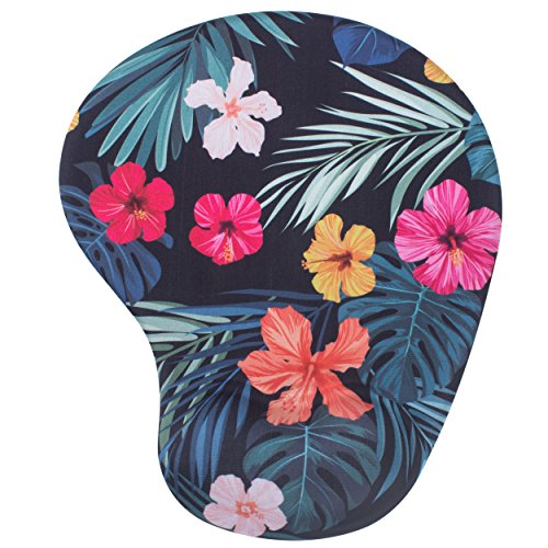 BRILA Mouse Pad with Wrist Rest Support Pad - Comfortable Medicinal Grade Memory Foam Gel with Pattern Design - Skid Proof & Pain Relief for Office Work Laptop Mac Computers (Tropical Floral Leaves) by Brila