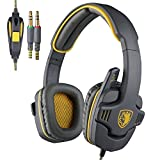 Sades SA-708 Zombie Version Stereo Gaming Headset 3.5mm Plug With Mic Computer Headphone Soft PU Leather Ear-cushion Gray Yellow