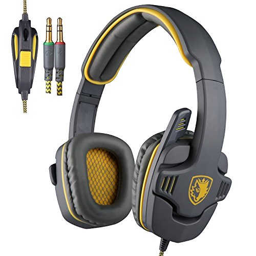 Price comparison product image Sades SA-708 Zombie Version Stereo Gaming Headset 3.5mm Plug With Mic Computer Headphone Soft PU Leather Ear-cushion Gray Yellow