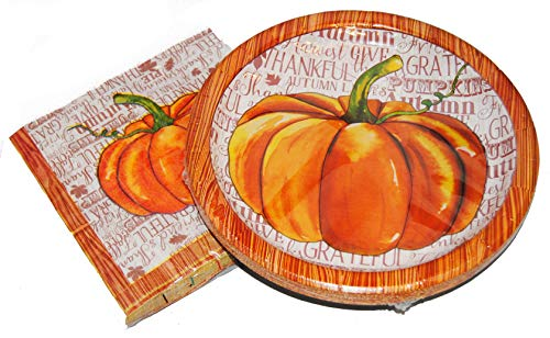 Fall Watercolor Pumpkins Paper Plates and Napkins for 36