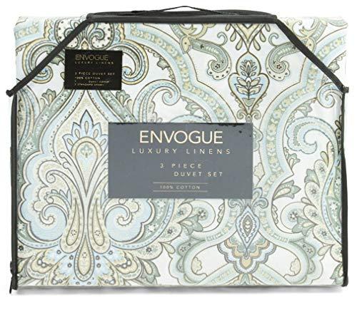ENVOGUE Bedding King Duvet Cover Set Cotton Medallion Bohemian Paisley Jade Olive Tan Bedding 3 Pc