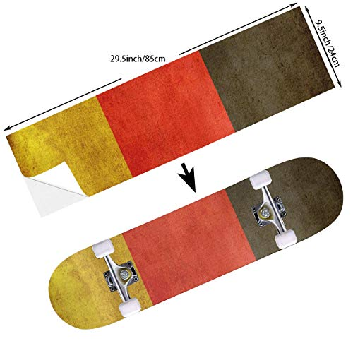 Coolest Secret World Cup German Chariot Flag Skateboard Stickers Cruiser Deck Decorate Skate Balance Board Decals - 24 X 85 cm for Skateboarder Adults Girls ()