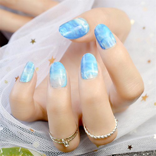 Fashion Nude Fake Nails White Marble Short Press On Nails Shiny Perfect For Daily Wear With Glue Sticker oval blue