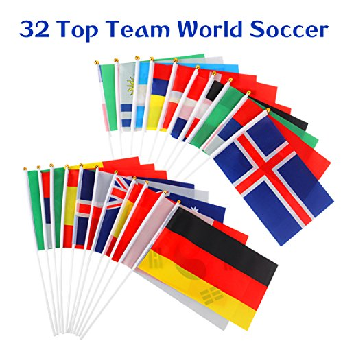 Hand Held Flag Stick Flag 32 Pack World Cup Soccer Game Stic