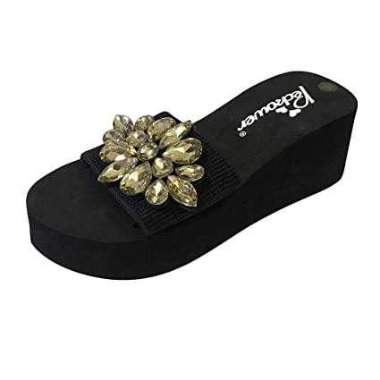 08d971be0746 Image Unavailable. Image not available for. Color  Women Girls High Heels  Slippers Sandals Crystal Round Toe Slip-On Wedges Beach Shoes Fashion
