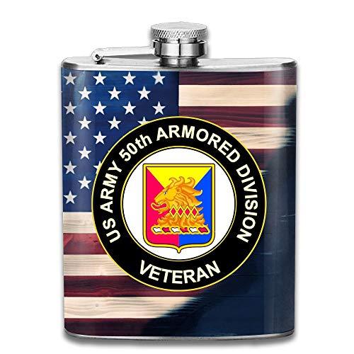 KEKE RABBIT 7oz Stainless Liquor Flagon Retro Rum Whiskey Alcohol Pocket Flask US Army 50th Armor Unit Crest Veteran