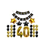 40th Birthday decorations set gold and black, Happy Birthday Banner, 40th Gold Number Balloons,4 Star Balloons, Perfect 40 Years Old Party Supplies for men and women, with 24 black and gold Balloons