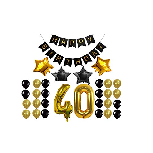 40th Birthday Decorations Set Gold And Black Happy Banner Number Balloons4 Star Balloons Perfect 40 Years Old Party Supplies For Men