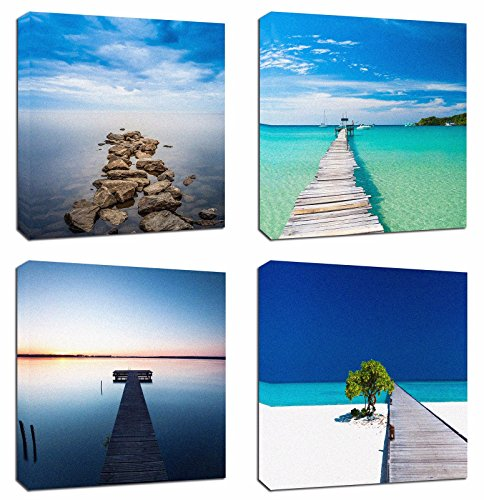 Cheap  4Pcs 12x12 Canvas Wood Stretched Jetty Beach Blue Sea Ocean Sky Quiet..