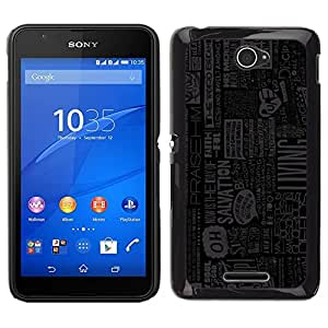 YiPhone /// Prima de resorte delgada de la cubierta del caso de Shell Armor - Vida acciones que Viven Cita Slogan Periódico - Sony Xperia E4