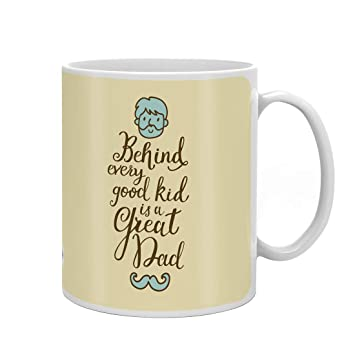 Indigifts Father Birthday Gifts Great Dad Quote Fathers Face Illustration Beige Coffee Mug 330 Ml