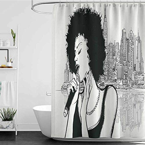 homecoco Shower Curtains x Long Afro Decor,American Jazz Music Girl Performing in Front of New York Manhattan Illustration,Black Grey W72 x L72,Shower Curtain for Kids