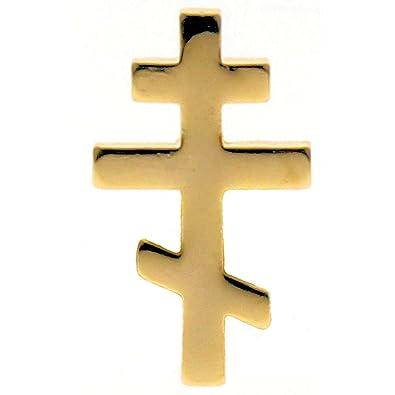 Sterling Gifts Orthodox Greek Cross Gold Plated Lapel Pin, Russian Cross  (Pkg of 10) Byzantine Cross