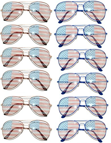 Lot of 12 pairs American Flag USA Aviator Eyeglasses by dozen - American Aviator Flag Wholesale Sunglasses