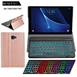 Samsung Galaxy Tab A 10.1 T580 T585 T587 Keyboard Case [2016 No S Pen Version] with Magnetically Detachable Wireless Bluetooth Keyboard Ultra-Thin Lightweight PU Leather Stand Cover Folio (Rosegold)