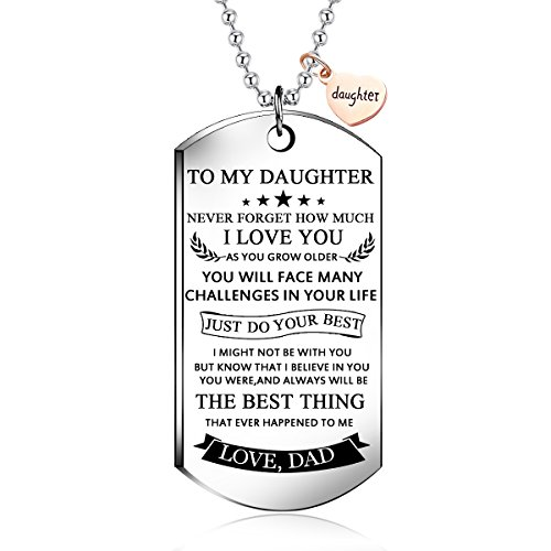 NOVLOVE To my daughter from dad Stainless Steel Dog Tag Letters To my daughter never forget how.love dad Pendant Necklace,Inspirational Gifts For daughter Jewelry by NOVLOVE
