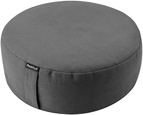 Reehut Zafu Yoga Meditation Bolster Pillow Cushion Filled with Buckwheat - Round Organic Cotton or Hemp - 7 Colors and 6 Sizes