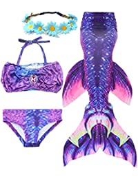 Garlagy 3 Pcs Girls Swimsuit Mermaid Tails for Swimming Bikini Bathing Suit Set
