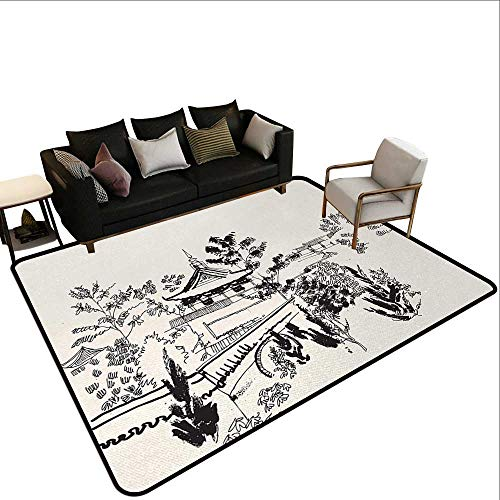 (Kitchen Rugs Ancient China,Hand Drawn Illustration of Temple in Town of Dali Yunnan Province Monastery,Black Beige,for Hard Floors, Provides Protection and Cushion for Area Rugs and Floors 6'x 7')