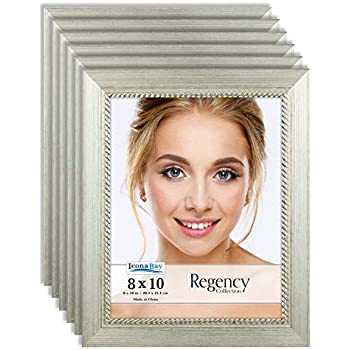 Icona Bay 8x10 Picture Frame (6 Pack, Silver), Silver Photo Frame 8 x 10, Wall Mount or Table Top, Set of 6 Regency Collection