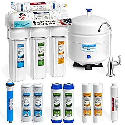 Express Water Reverse Osmosis Water Filtration System – 5 Stage RO Water Purifier with Faucet and Tank – Under Sink Water Filter – plus 4 Replacement Filters – 50 GPD by Express Water