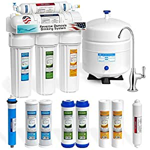 Express Water 50 GPD Reverse Osmosis Water Filtration System – 5 Stage RO Water Purifier with Faucet and Tank – Under Sink Water Filter plus 4 Replacement Filters