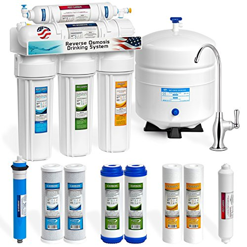 Express Water Reverse Osmosis Water Filtration System - NSF Certified 5 Stage RO Water Purifier with Faucet and Tank - Under Sink Water Filter - plus 4 Replacement Filters - 50 GPD (75 Filtration)
