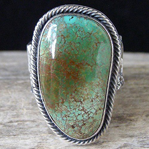 Ring,soAR9opeoF Men Artificial Gemstone Turquoise Sandcast Ring Bride Wedding Engagement Jewelry - Antique Silver US 8