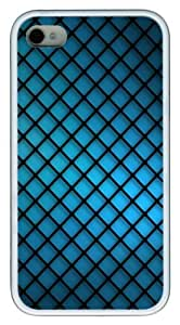 iPhone 4S Case, Blue Grating Abstract TPU Custom iPhone 4/4S Case Cover Whtie