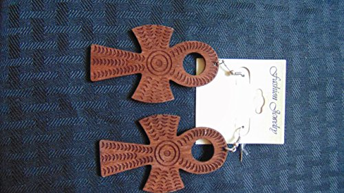 Gye Nyame Ring (New Egyptian Ankh Symbol of Life & Eternity Fashion Wooden Earrings Brown)