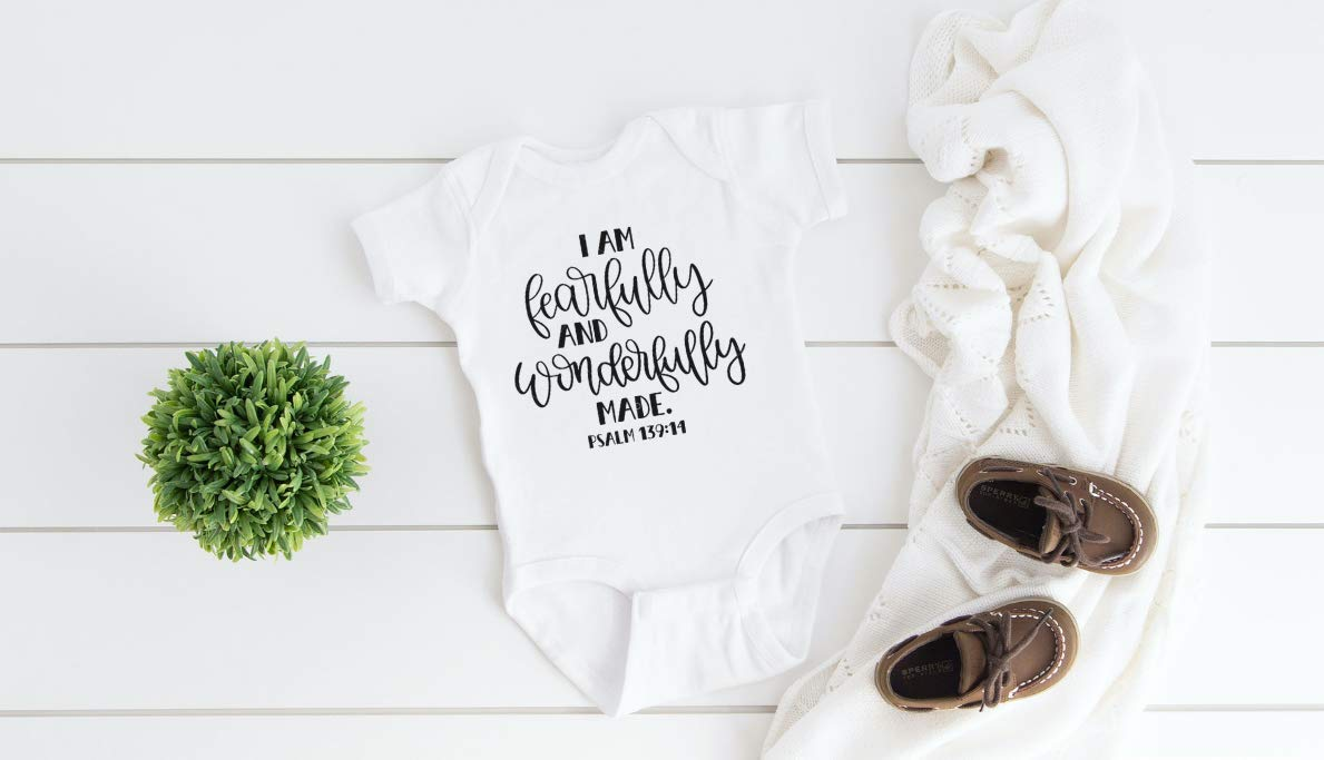 baby shower gift psalm 139 Bible baby shirt Scripture baby Faith FEARFULLY WONDERFULLY MADE Bible verse tshirt Baby onesie