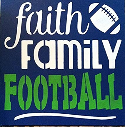 Amazon.com: Faith Family Football Wood Signs with Quotes Funny for ...
