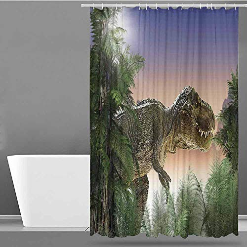 VIVIDX Polyester Shower Curtain,Jurassic Decor,Dinosaur in The Jungle Trees Forest Nature Woods Scary Predator Violence,Shower stall Curtain,W48x72L -