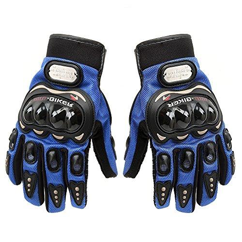 SWman Pro-biker Gloves, 1 Pair Rock Black Short Sports Leather Motorcycle Motorbike Cycling Summer Gloves, Powersports Racing Full Finger Gloves (Blue, Large)