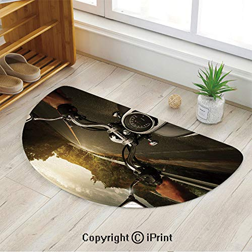 LEFEDZYLJHGO Half Moon Circle Mat Semi Circle Mat,Semicircle Rug,Non Slip Backing,Rider Driving a Chopper on Asphalt Road Within Forest Journey Photography - Laptop Asphalt