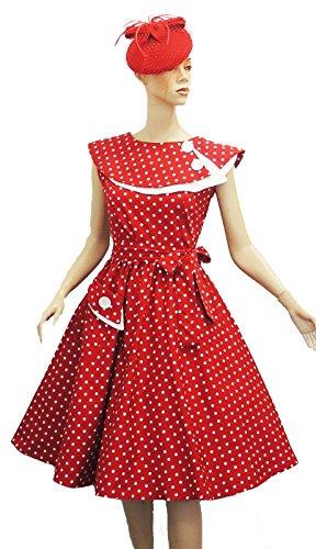 Rosa Rosa Vtg 1950s Rétro Rouge À Pois Rockabilly Bal Soirée Swing Robe