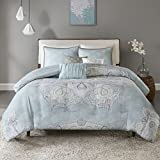 Madison Park Lucinda 6 Piece Reversible Cotton Sateen Duvet Cover Set Seafoam King/Cal King