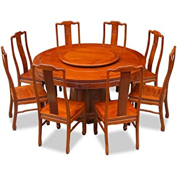 China Furniture Online Rosewood Dining Table, 60 Inches Longevity Design  Round Dining Set With 8