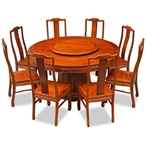 Superb China Furniture Online Rosewood Dining Table, 60 Inches Longevity Design  Round Dining Set With 8 Chairs Natural Finish