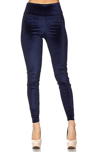 dee94228e High Waisted Velvet Leggings in Navy Blue (Plus at Amazon Women's Clothing  store: