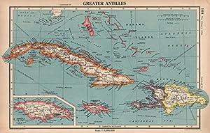 Amazoncom GREATER ANTILLES Cuba Hispaniola Jamaica Bahamas Haiti - Vintage map of jamaica
