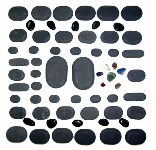 Sivan HEALTH and FITNESS Basalt Lava Hot Stone Massage 60 Piece Kit New and Improved Packaging