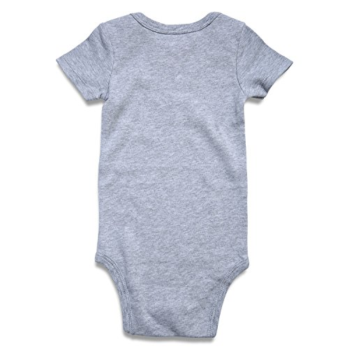 Funnycokid Baby Layette Bodysuit Infant Funny Cat Bodysuits Newborn Rompers Outfits Clothes Short Sleeve Onesies Grey 6-12 Months