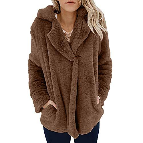 Oasisocean Women's Fuzzy Fleece Lapel Open Front Long Cardigan Coat Faux Fur Warm Winter Outwear Jackets