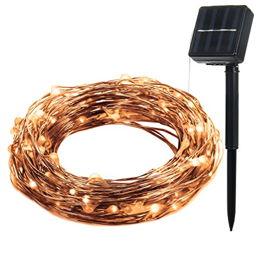 Illunite Solar Powered String Fairy Lights 33 Ft Bendable
