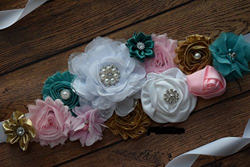 Amazon Com Sash Teal White Gold Pink Sash Flower Sash Baby Shower